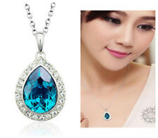 Blue Crystal Tear Drop Pendant Necklace//White gold/RGN098/530/302