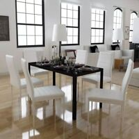 vidaXL 5/7 Piece Black White Dining Set Glass Table Artificial Leather Chairs