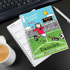 Childrens FOOTBALL CRAZY Personalised A5 Diary - Boys Diaries Planner