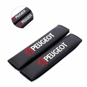 2x Carbon Fiber Black Car Seat Belt Cushion Shoulder Pads Cover for Peugeot Logo