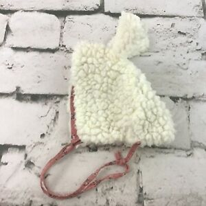 Handmade Bunny Themed Baby Infant Hat Sherpa Floral Lined Bonnet Warm Winter