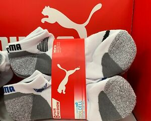 8-Pair Puma Men's No Show Sock Regular White, Fits Shoe Size 6-12, NEW FAST SHIP