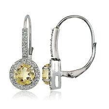 Sterling Silver 1.7ct Citrine and White Topaz Round Leverback Earrings