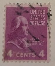 1938 U. S. Scott 808 James Madison used cancelled 4 cent stamp off paper