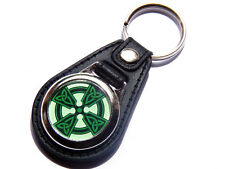 CELTIC CROSS Sacred Symbol Quality Leather and Chrome Keyring