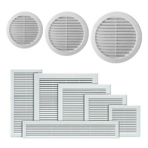 White Air Vent Grille with Anti-Insect Mesh / Fly Screen and Screw Covers