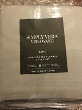 Simply Vera Wang Portuguese Flannel King 4 Pc Sheet Set- Dark Gray Nwt