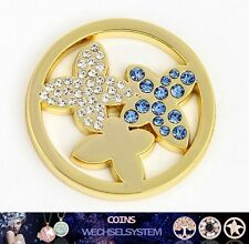 COIN COINS MÜNZEN Schmetterling Gold Kristall 33mm kompatibel mit Quoins Moneda