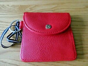 Joules Small Red Coin Purse with Keyring  & Tie, Bunny Logo Snap Close New