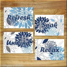 Blue Navy Gray Wall Art Bathroom Bath Spa Prints Decor Floral Flower Relax Soak
