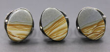 Adjustable Sterling Silver Rings Brown White Grey Oval Agate Ring
