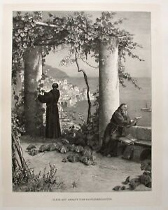 Amalfi, Kampanien, Kapuziner, Italy - Ansicht - Stich, Holzstich um 1885