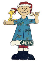 "Vintage Hand Painted 36"" Wood Charlie Brown Woodstock Christmas Yard Art NY Jets"