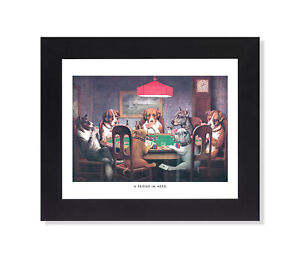 Dogs Playing Poker at Table #1 A Friend In Need Wall Picture Black Framed