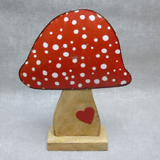 DIO Fliegenpilz Metall und Holz  rot weiß Pilz Herbst Deko Handarbeit