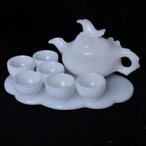 China  jade carved jade bamboo bundle teapot teapot Six cups of tea Kung Fu