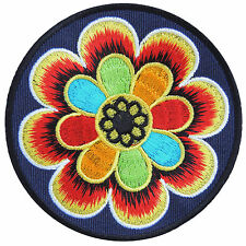 Colorful Flowers Lotus Aum Om Ohm Yoga Infinity Peace Hippie Iron-On Patch AU037