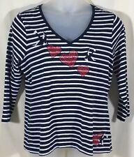 Charter Club Woman Knit Top Size 1X Navy White Stripe V Neck Cotton Birds Hearts