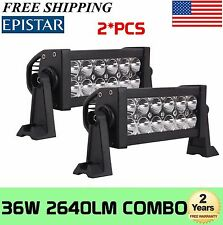 2x 8INCH 36W LED WORK LIGHT BAR Combo Spot Flood 4WD Ford Truck GMC 48W 72W 120W