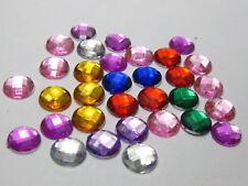 250 Mixed Colour Acrylic Rhinestone Flatback Round Beads 8mm Flat Back Gems