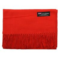 Men's 100% CASHMERE Warm PLAIN Scarf pure solid Red Wool MADE IN SCOTLAND