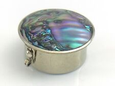 Abalone Mother Of Pearl Lid Round Lidded Pill Trinket Snuff Box Mexico I964