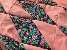 """Quilt top unfin, 45x53""""pink, pink floral triangle, ship free"""