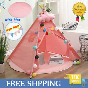 Large Canvas Kids Teepee Tent Childs Wigwam Indoor Outdoor Play House Gift Girl