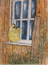 ROOSTING HEN - Small, art reproduction, artist, ink, realism, birds