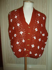 "Dead Retro X LARGE Granny Hand Crochet Unique Waistcoat "" Very Mrs Brown Boys """