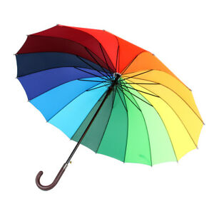 16 Rib Rainbow Golf Umbrella Ultra Deluxe Strong Windproof Large Canopy J&C