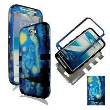 Hybrid Tuff  Blue Art Design For  Samsung Galaxy Note II 2 N71  case cover