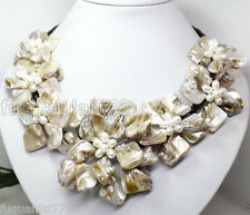 "WHITE MOP SHELL PEARL PENDANT NECKLACE 7 FLOWER 18""LONG FASHION JEWELRY"