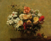 Stunning Oil painting Henri Fantin Latour - Summer Flowers in vase