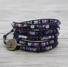 Natural Amethyst Beaded Wrap Bracelet, Leather Purple Friendship Crystal Cuff