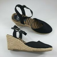 F&F size 3 (36) black canvas strappy wedge heel buckle espadrille sandals