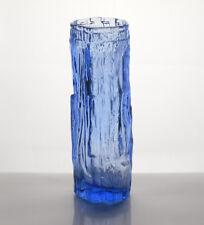 VINTAGE 1960'S 1970'S TEXTURED BARK DESIGN ICE BLUE PRESSED GLASS VASE 17.5 CM