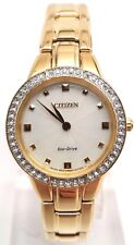 Citizen Eco-Drive Women's EX1362-54P Silhouette Analog Display Gold Watch BROKEN