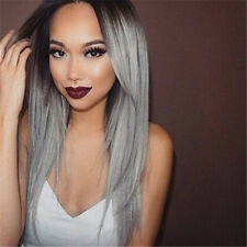 Full Wig Women Long Straight Heat Resistant Hair Black Ombre Grey Party Wigs