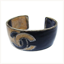 Chanel Bangle Bracelet COCO Black Beige Woman Authentic Used Y046