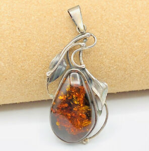 Sterling Silver 925 Simulated Amber Pendant Marked and Tested