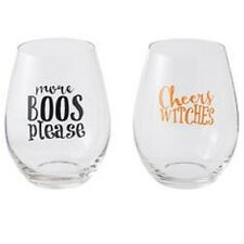 Mud Pie | Halloween Stemless Wine Glasses MORE BOOS PLEASE & CHEERS WITCHES *NEW