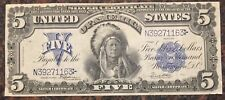 1899 $5 INDIAN CHIEF SILVER CERTIFICATE FIVE DOLLAR BILL NOTE BANKNOTE