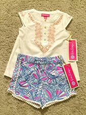 NWT Lilly Pulitzer Target Girls My Fans Pompom Shorts & Embroidered Top Lot 18M