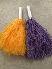 Purple and Gold Pair of Pom Poms