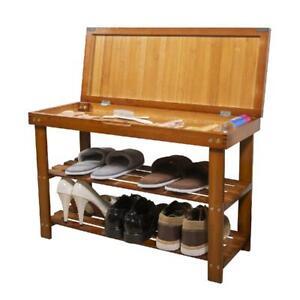 2 Tier Shoe Rack Storage Entryway Storage Bench Hidden Drawer Wooden Organizer