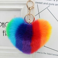 Rainbow Heart Fluffy Ball Keychain Car Key Ring Holder Bag Charm Ornament Glee