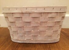 Whitewashed Woven Wooden Florestry Basket With Plastic Liner French Country Chic