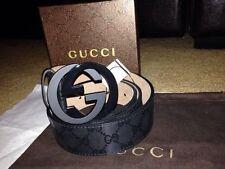 NWT Authentic Gucci Black Imprime Belt 95cm, 32/34 Waist
