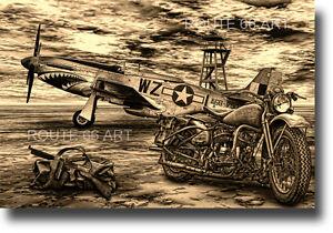 HARLEY DAVIDSON MOTORCYCLE WLA P51 MUSTANG TOMMY GUN WORLD WAR 2 BIKER ART PRINT